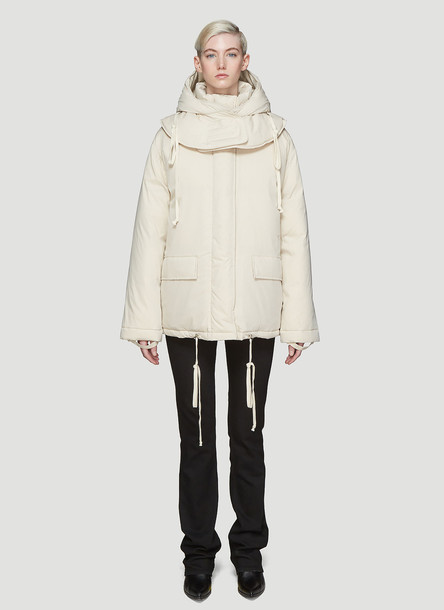 Helmut Lang Detachable Hood Padded Coat in Beige size S