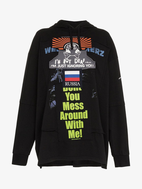 Vetements graphic print patchwork hooded jumper