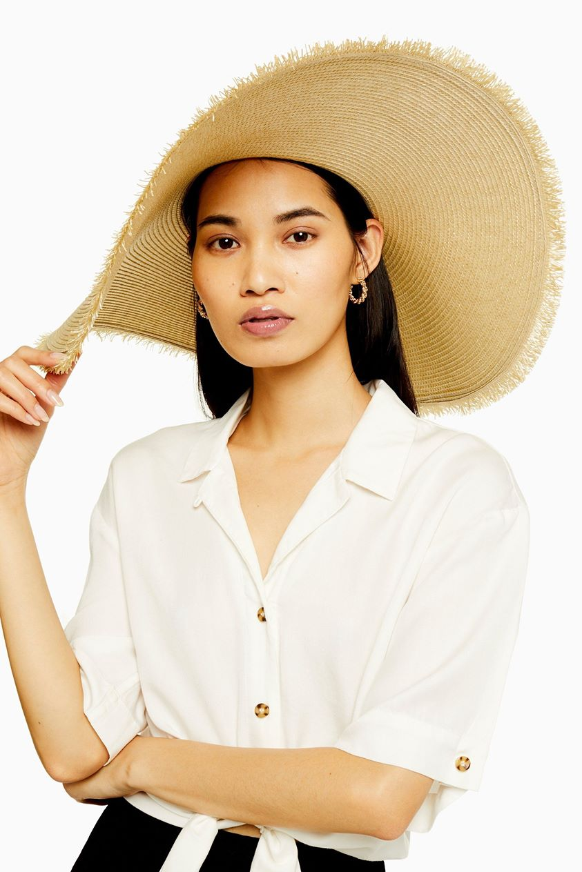 Womens Frayed Oversized Straw Hat - Natural