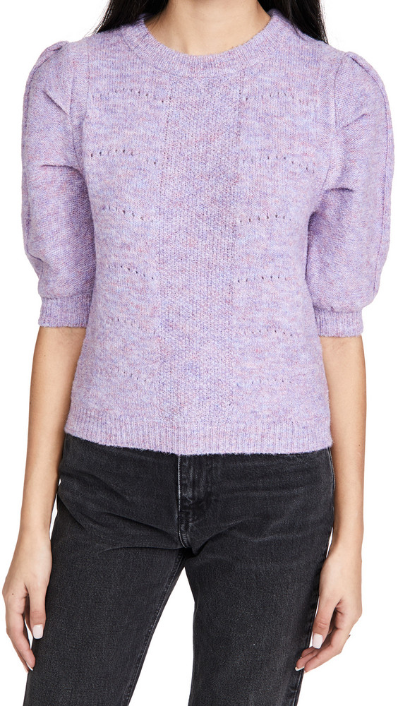 ENGLISH FACTORY Short Puff Sleeve Sweater in purple