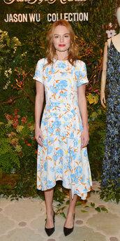 dress,kate bosworth,midi dress,floral dress,floral,celebrity style,celebrity