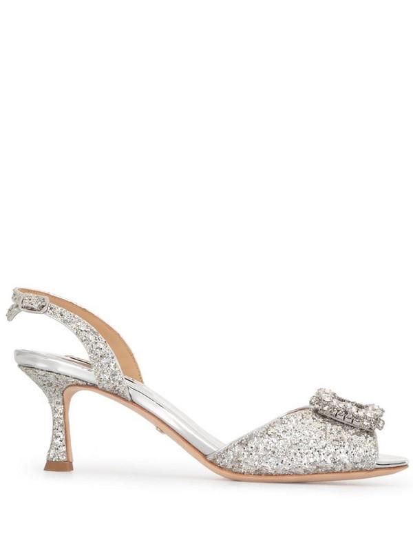 Badgley Mischka Ozara glitter sandals in silver