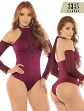 underwear,red,bodysuit,body,rear lace,rear tie,back tie,bandage,bodycon,cereza,cherry red,burgundy,long sleeves,low back,attached sleeves,transparent,pinot noir,exposed back,cut shoulders,transparent sleeves,halter neck