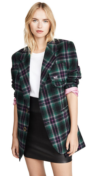 Natasha Zinko Oversized Plaid Jacket in green