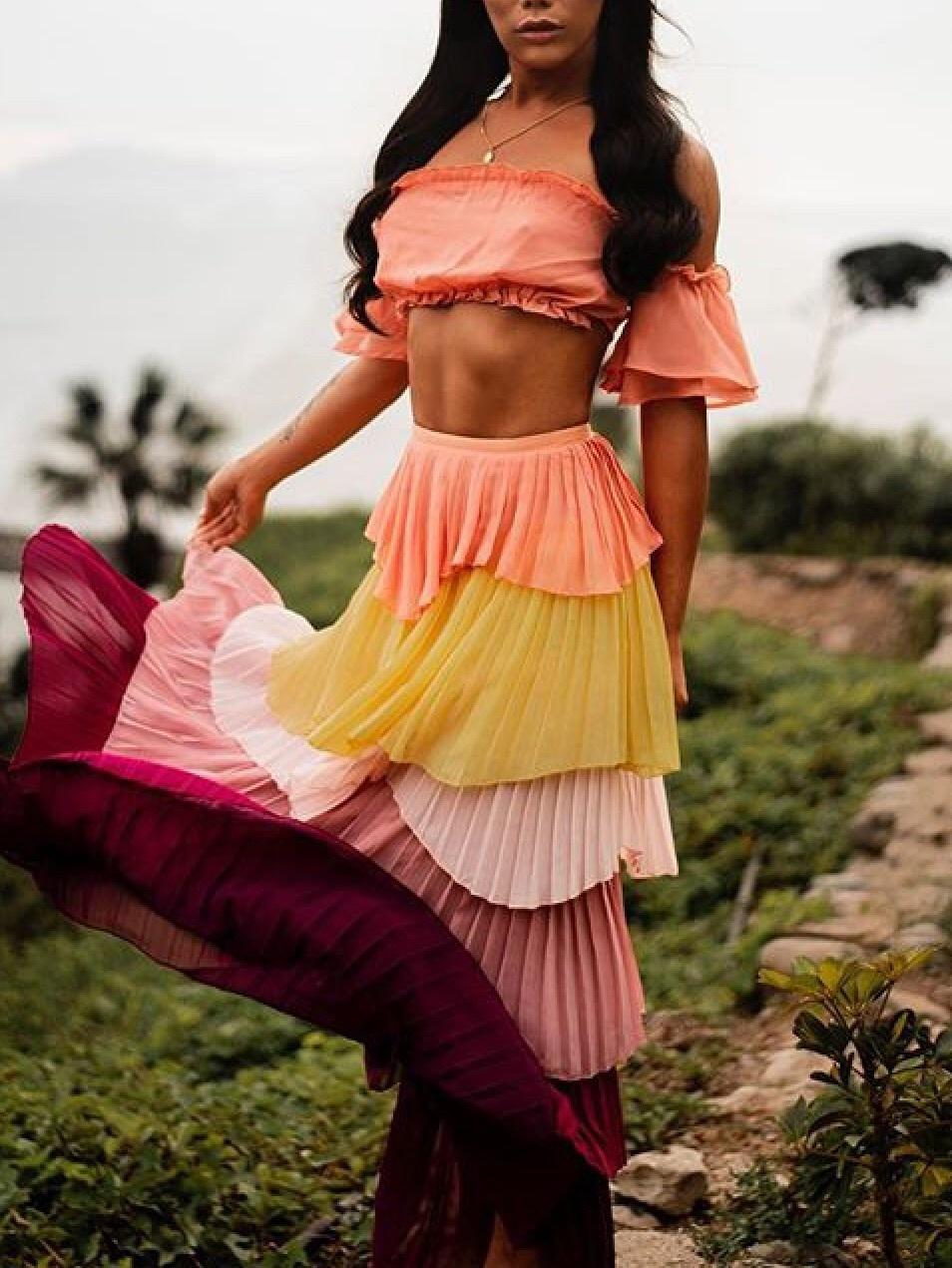 dress gia gunn dress set yellow pink burgundy matching set drag red ruffle draped drop dead clothing maxi dress
