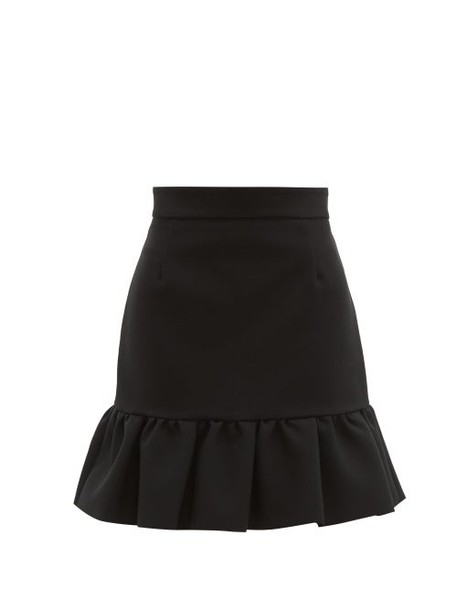 Msgm - Ruffled Hem Crepe Mini Skirt - Womens - Black
