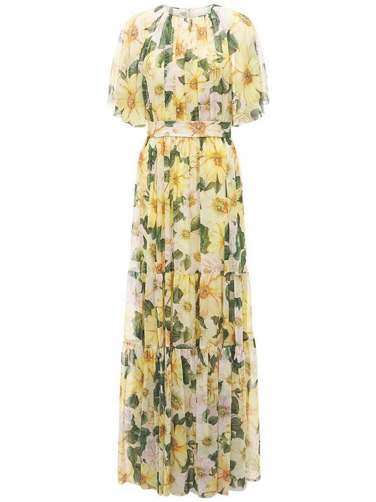 DOLCE & GABBANA Camelia Print Silk Georgette Maxi Dress in yellow / multi