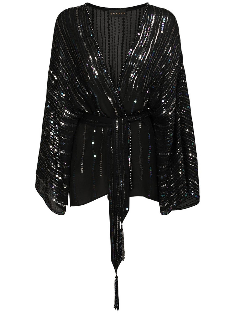DUNDAS Sequined Silk Georgette Top W/ Belt in black