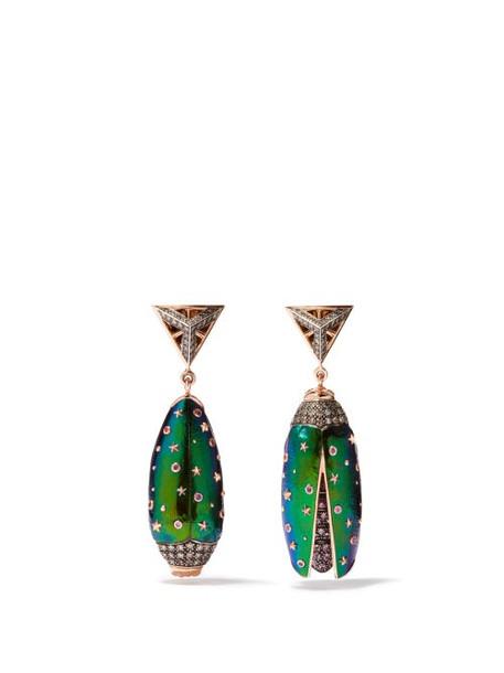 Bibi Van Der Velden - Scarab Diamond, Sapphire & 18kt Rose-gold Earrings - Womens - Blue Multi