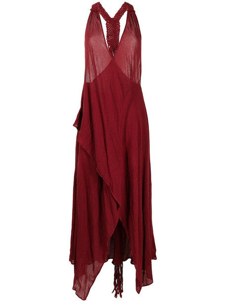 Caravana draped open-back cotton dress in red