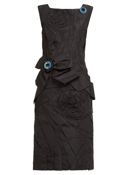 Calvin Klein 205w39nyc - Bow Appliqué Silk Taffeta Dress - Womens - Black