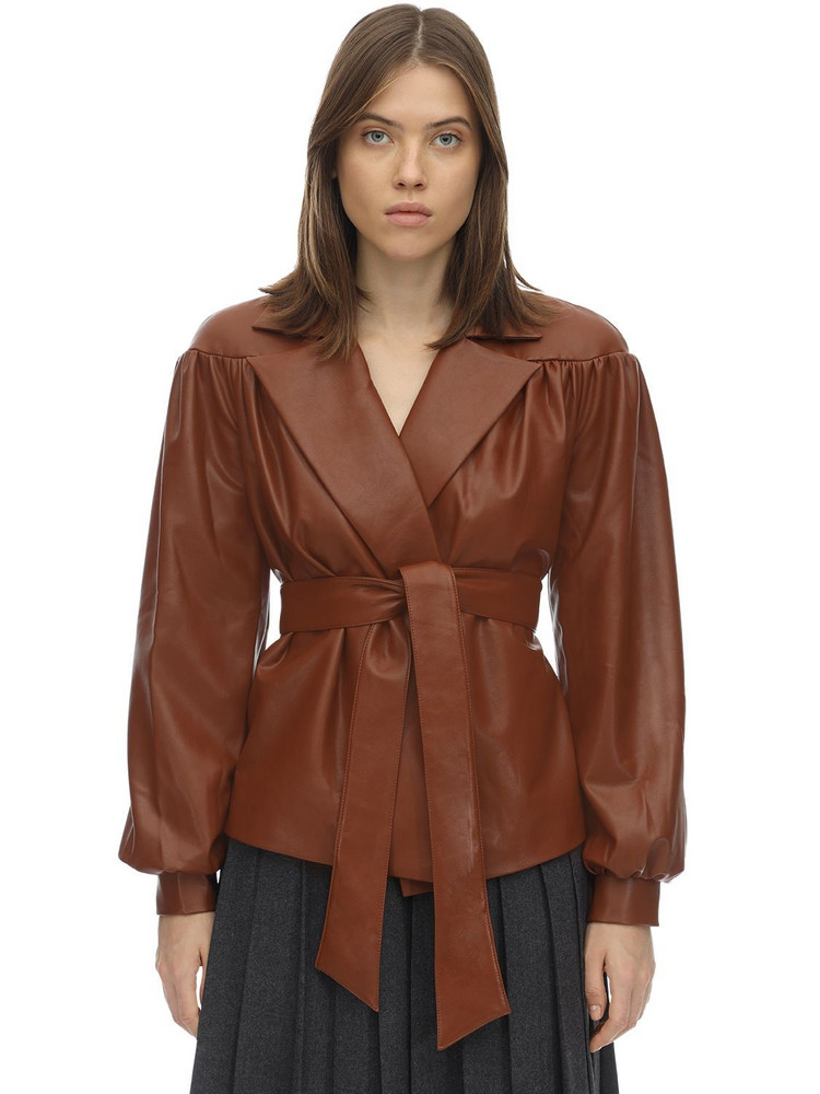 LESYANEBO Ruffled Faux Leather Jacket W/ Belt in camel