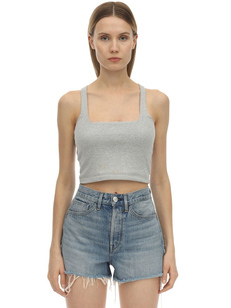 3X1 Ribbed Cotton Jersey Crop Top in grey