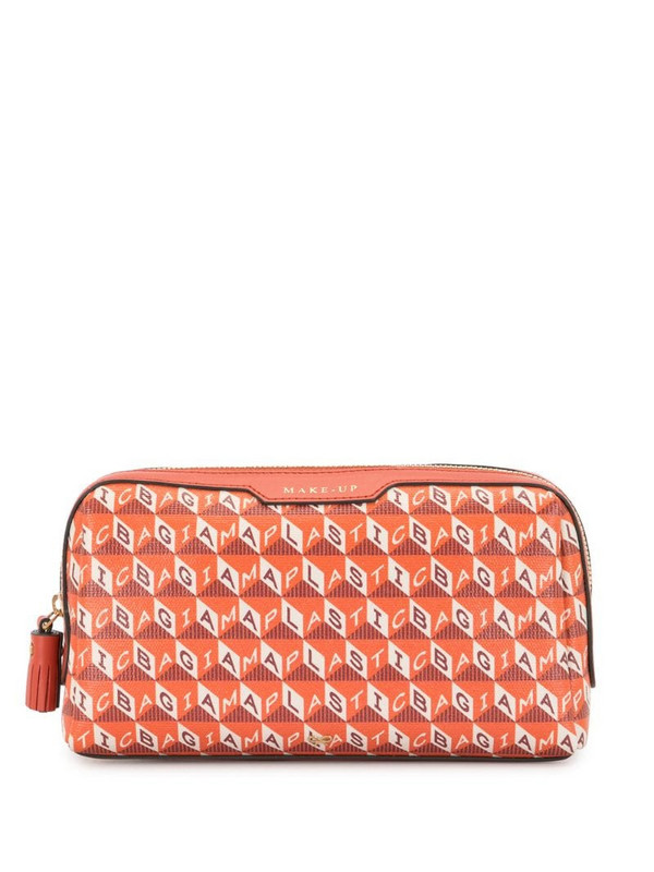 Anya Hindmarch I Am A Plastic Bag makeup bag in red