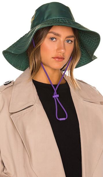 Ganni Recycled Tech Bucket Hat in Dark Green