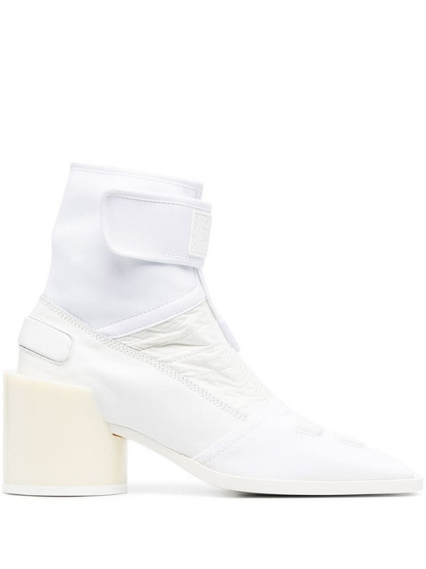MM6 Maison Margiela logo embossed bi-material ankle boots in white