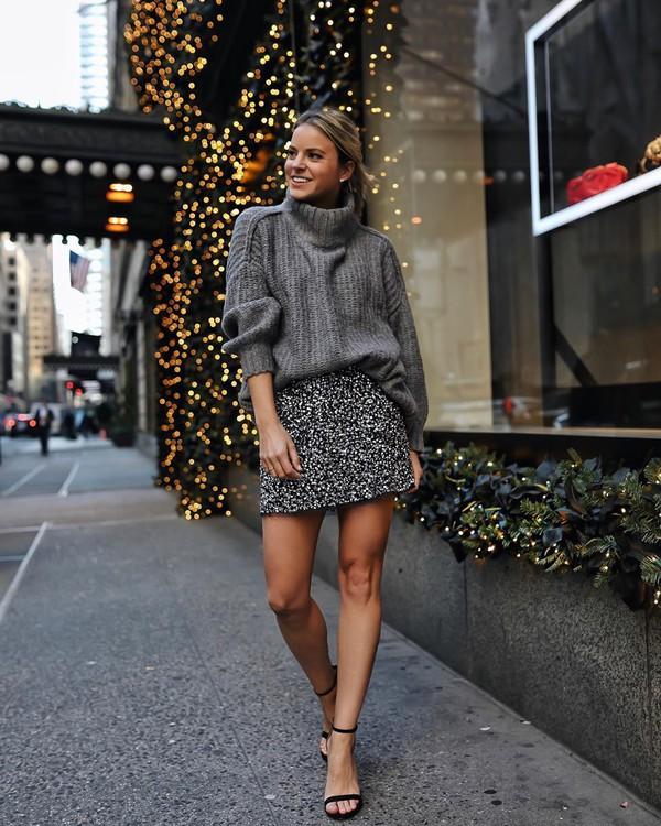 sweater turtleneck sweater mini skirt black sandals
