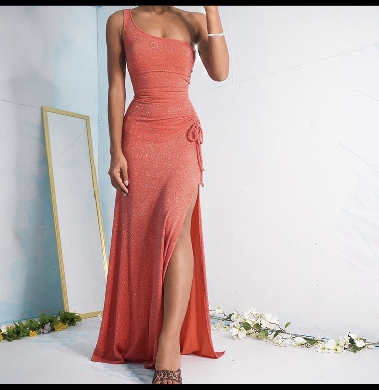 dress peach shimmery one shouldered g gown
