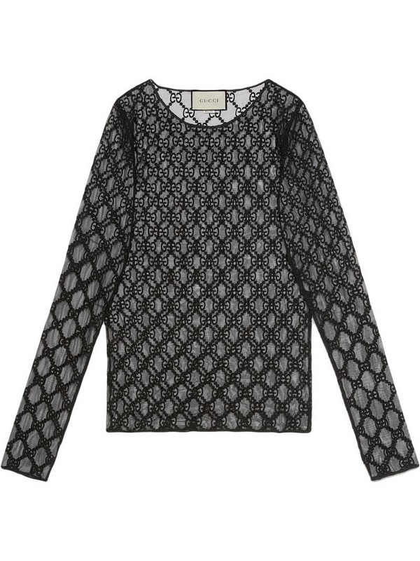 Gucci GG embroidered tulle T-shirt in black