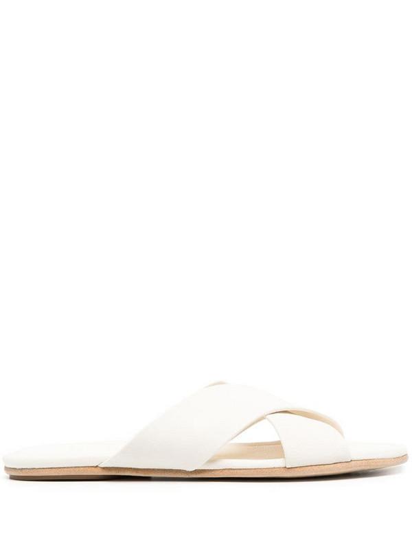 Pedro Garcia Roma crossover strap sandals in white