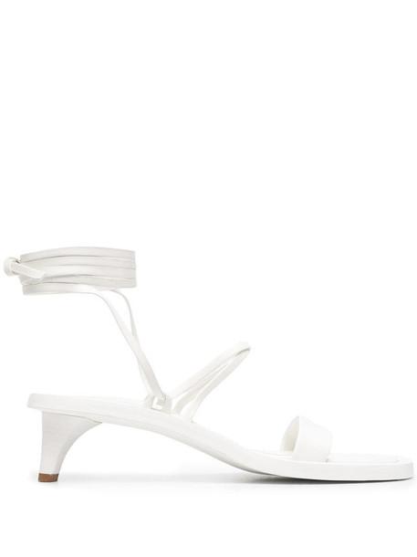Jil Sander kitten heel wraparound sandals in white