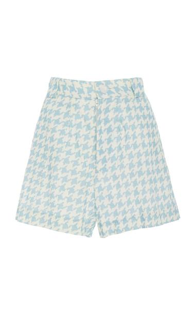 Ephemera Sky Houndstooth Linen Shorts Size: 36 in print