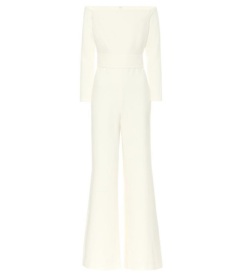 Safiyaa Univer off-shoulder crêpe jumpsuit in white