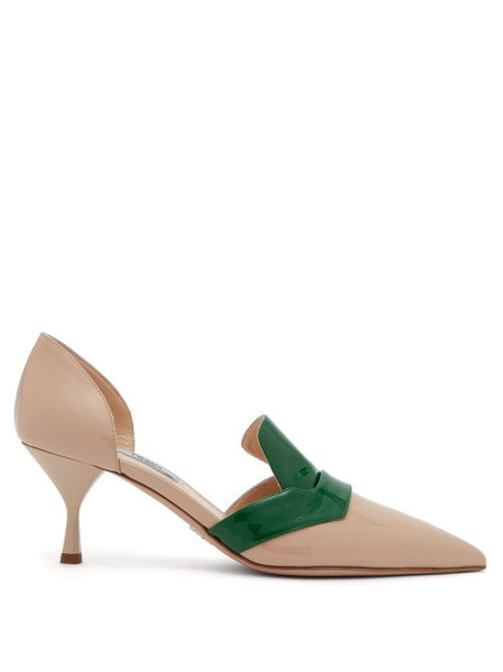 Prada - D'orsay Patent Leather Pumps - Womens - Green Multi