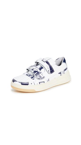 Acne Studios Steffey Map Sneakers in blue / white
