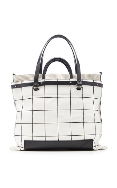 Proenza Schouler PS19 Small Plaid Leather Tote Bag in black
