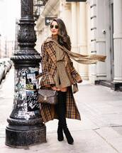 top,blouse,houndstooth,black boots,over the knee boots,heel boots,plaid,long coat,louis vuitton bag,brown bag