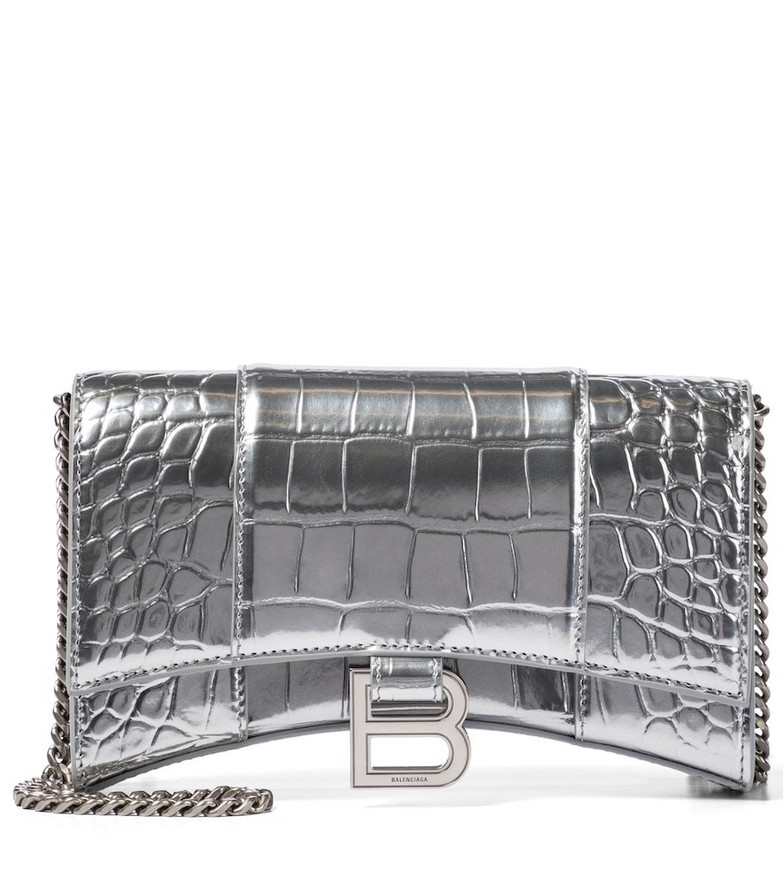 Balenciaga Hourglass Mini leather shoulder bag in silver