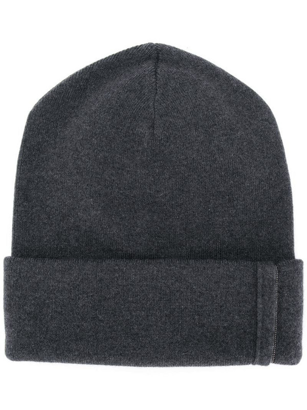 Brunello Cucinelli ribbed knitted beanie in grey