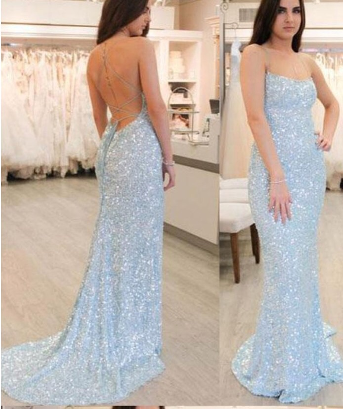 dress blue dress blue sequin dress sequin prom dress prom dress prom mermaid prom dress mermaid wedding dress pretty spaghetti strap sparkly dress