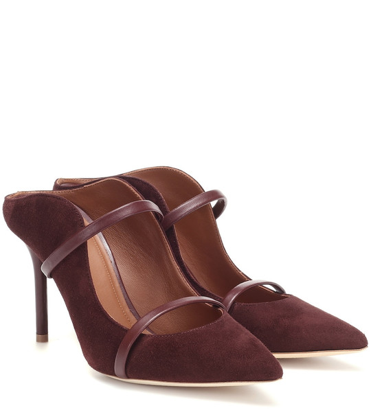 Malone Souliers Maureen 85 suede mules in brown