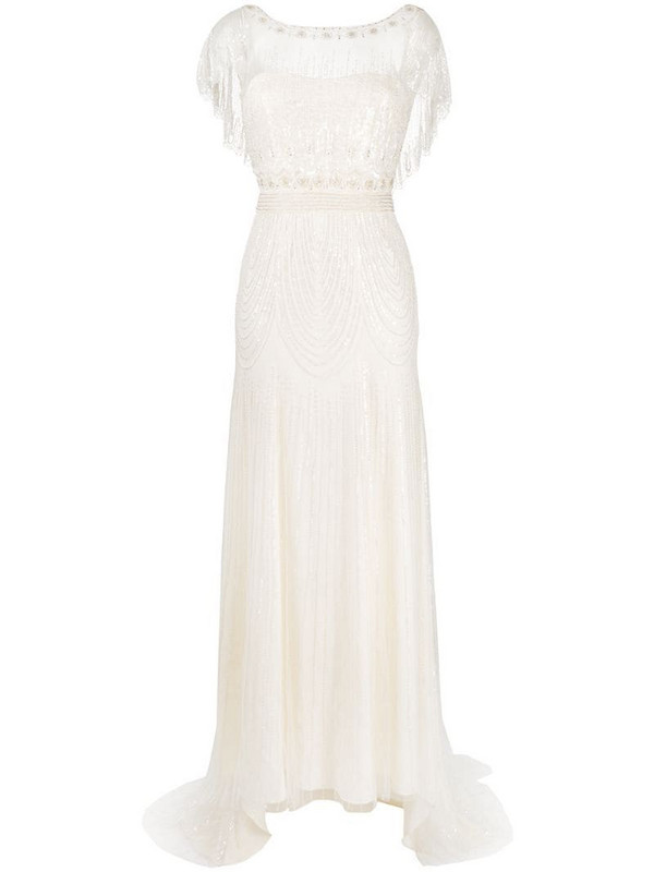 Jenny Packham Dolly tulle-embellished wedding gown in neutrals
