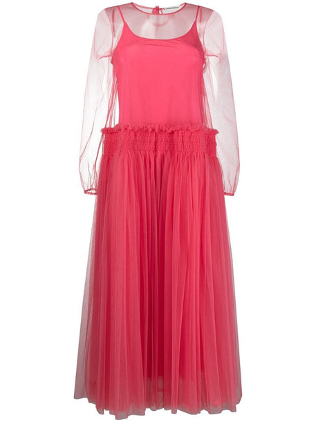 Molly Goddard sheer tulle midi dress in pink