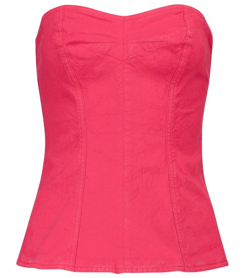 Isabel Marant Ezikio linen-blend top in pink