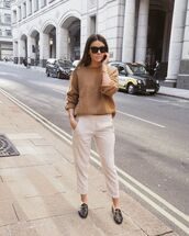 sweater,knitted sweater,cropped pants,loafers