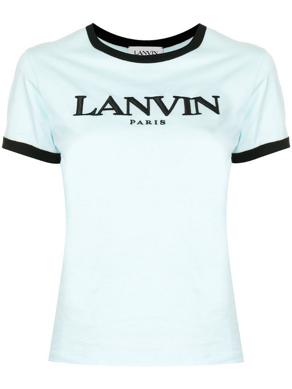 LANVIN logo-embroidered short-sleeve T-shirt in blue