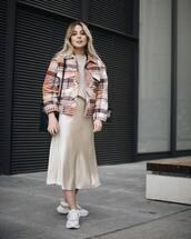 skirt,midi skirt,satin,white sneakers,plaid,jacket,monki,beige top,black bag
