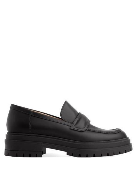 Gianvito Rossi - Argo Tread-sole Leather Loafers - Womens - Black