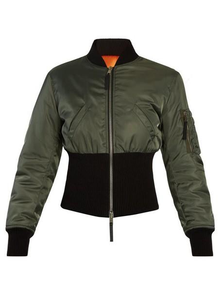 Alexander Mcqueen - Ribbed Hem Padded Bomber Jacket - Womens - Green