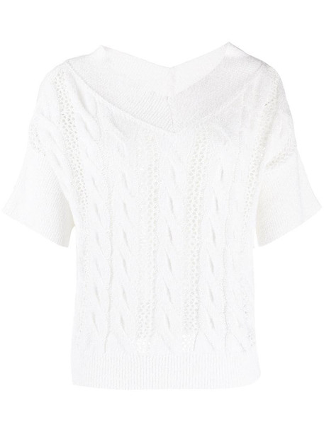 Antonelli cable knit t-shirt in white