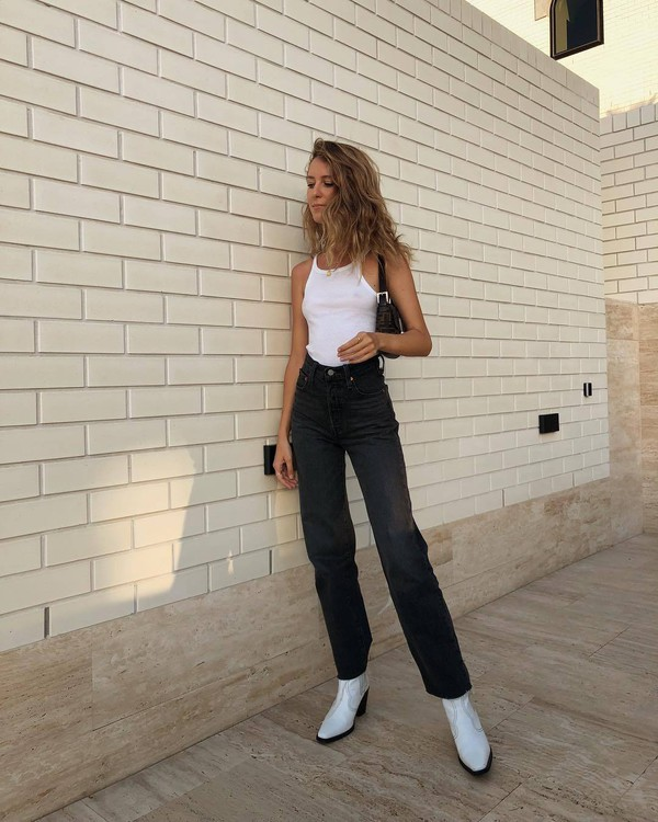 shoes white boots ankle boots high waisted jeans black jeans straight jeans white top bodysuit black bag