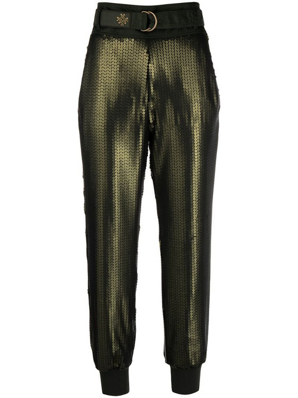 Mr & Mrs Italy cropped sequin trousers in green