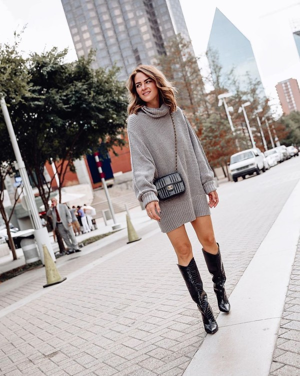 sweater turtleneck sweater oversized sweater knee high boots black boots black bag