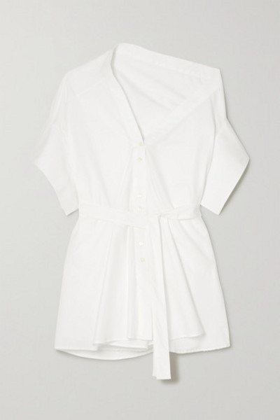 palmer/harding palmer//harding - Jasmin Asymmetric Belted Cotton-blend Poplin Shirt - White
