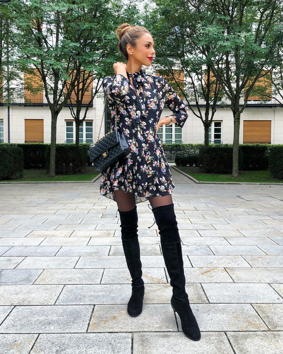 dress mini dress floral dress long sleeve dress zara over the knee boots black boots tights chanel bag black bag