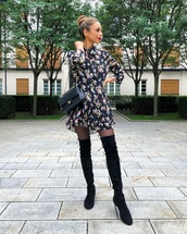 dress,mini dress,floral dress,long sleeve dress,zara,over the knee boots,black boots,tights,chanel bag,black bag